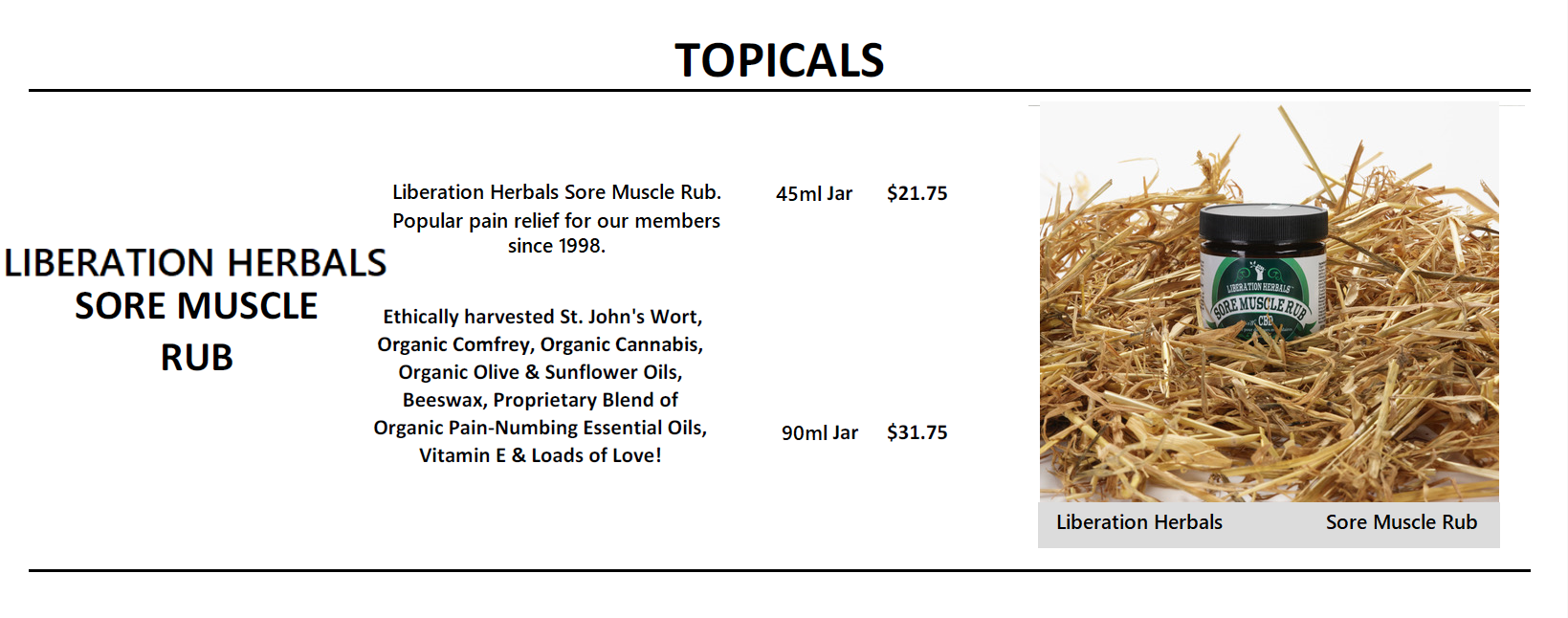 Sore Muscle Rub - Liberation Herbals